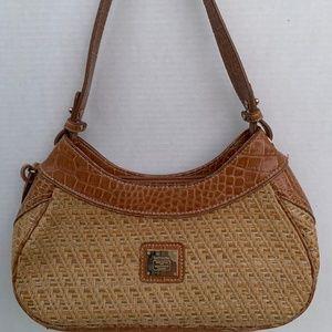 Liz Claiborne Straw Purse Shoulder Bag Beige Tan